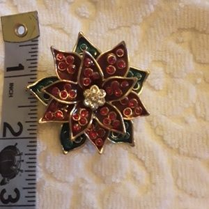 Poinsettia Flower Christmas Holiday Brooch Pin